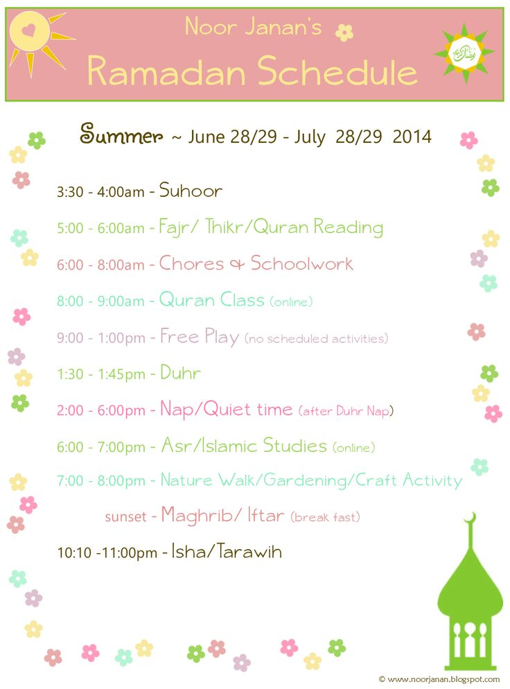 Nice Ramadan Schedule for homeschooling families.