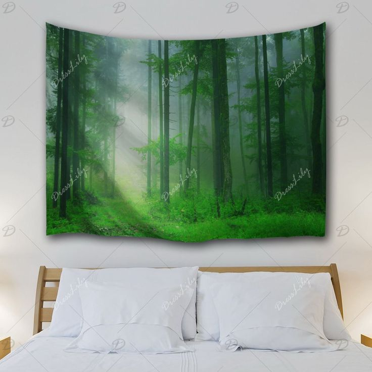 Foggy Forest Bedroom Tapestry Wall Hangings - GREEN W71 INCH * L91 INCH