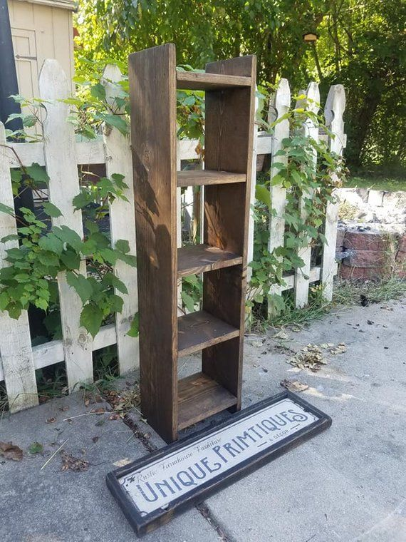 RUSTIC FARMHOUSE LADDER Bookcase Farm House Shelving Reclaimed Wood Stands Alone Storage Bookshelf Custom Sizes Colors