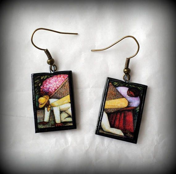 The Flower Carrier Diego Rivera Earrings Handmade Polymer Clay