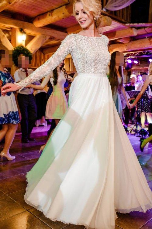 Suknie Suknia ślubna Rustykalna Boho Wianek Długi Rękaw 36 38