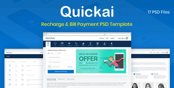 Quickai Recharge Bill Payment Psd Template Amp Recharge