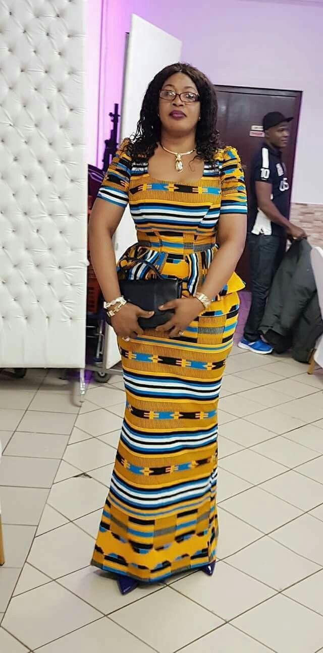 Beautiful African kente long dress. Kanyget fashions+
