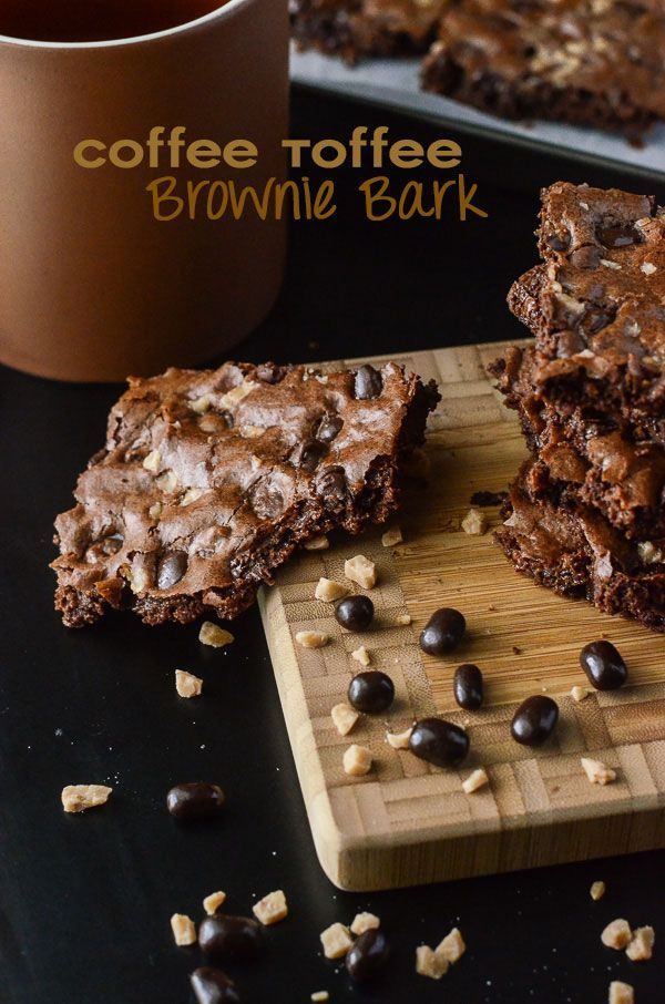 Coffee Toffee Brownie Bark - caffeine between meals in the form of a crispy brownie! | Get the recipe on MyCookingSpot.com!