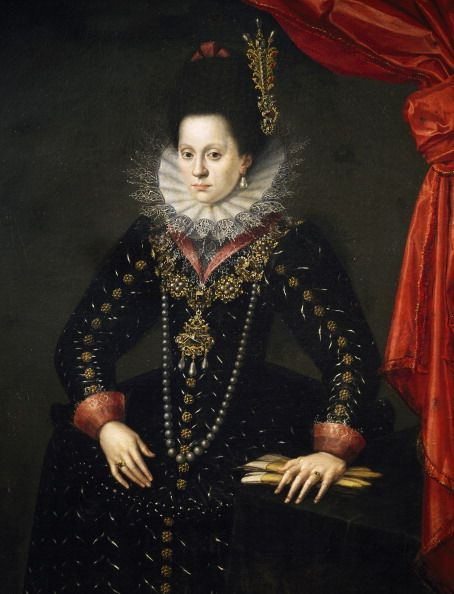 Portrait of Isabel or Elisabeth of Lorraine (Nancy, 1574- Braunau am Inn, 1635), Duchess Consort of Bavaria, painting by Scipione Pulzone (1544-1598) detto Gaetano, oil on canvas, cm 132.2x108.7. Florence, Galleria Degli Uffizi