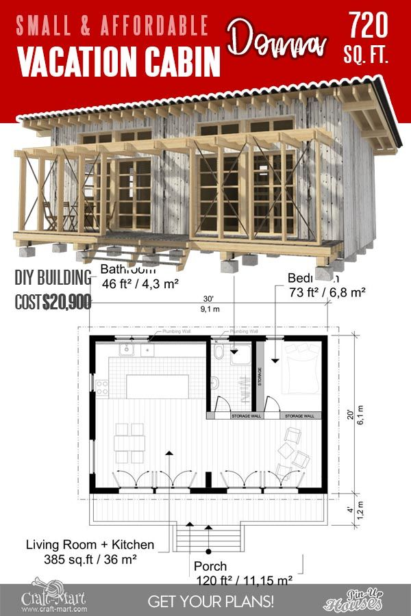 13 Best Small Cabin Plans With Cost To Build Craft Mart Small Cabin Plans Cabin Plans Cabin Floor Plans