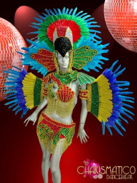 Four Piece Bright Rainbow Beaded Brazilian Carnival Parrot Costume Set