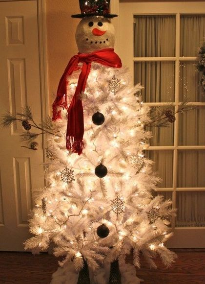 Click Pic - 30 Christmas Tree Decorating Ideas - Snowman Christmas Tree - DIY Christmas Decorations