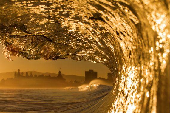Sunrise Hotel Del Coronado Wave - 12x18 16x24 20x30 24x36 Metal Print - Surf Photography - Water Photography - Modern Art - Wall Art