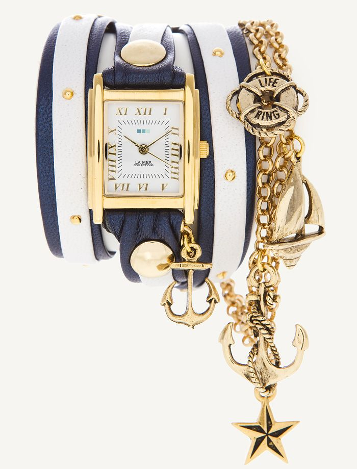 LOVE. La Mer wrap watch with nautical theme.: Anchors, Mer Wraps, Charms, Mer Collection, Jewelry, The Mer, Accessories, Wraps Watches, Nautical Watches
