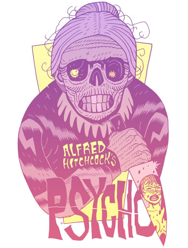 This Dan Hipp tribute to psycho has an interesting typeface in which is sans serif and works with the light in the old lady's lights in the composition.
