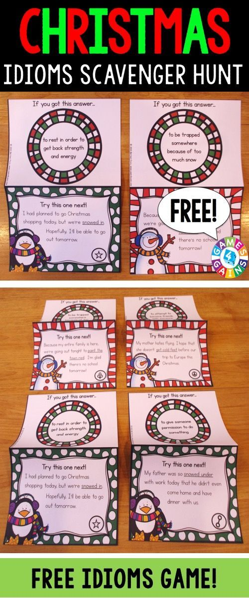 FREE Christmas Idioms Scavenger Hunt makes practicing holiday-themed idioms fun! Included are 12 cards that require students to determine the meaning of an idiom in context. This is a perfect activity to use with the whole class or in small groups during the Christmas season!
