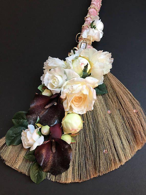 Sweet Grass Wedding Broom With Peonies Roses And Callas Etsy Wedding Broom Grass Wedding Jumping The Broom