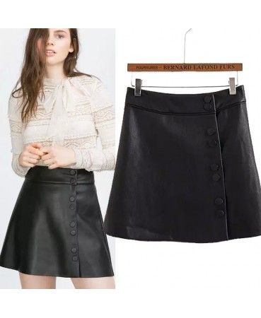 Black single breasted leather skirt