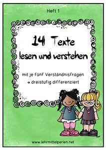 14 Lesetexte für die 1. bis 3. Klasse mit Verständnisfragen (differenziert) und mit Zusatzheften in Silbenschrift