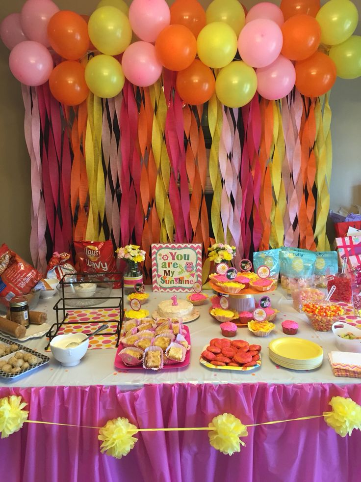 You are my sunshine pink lemonade first birthday table with backdrop