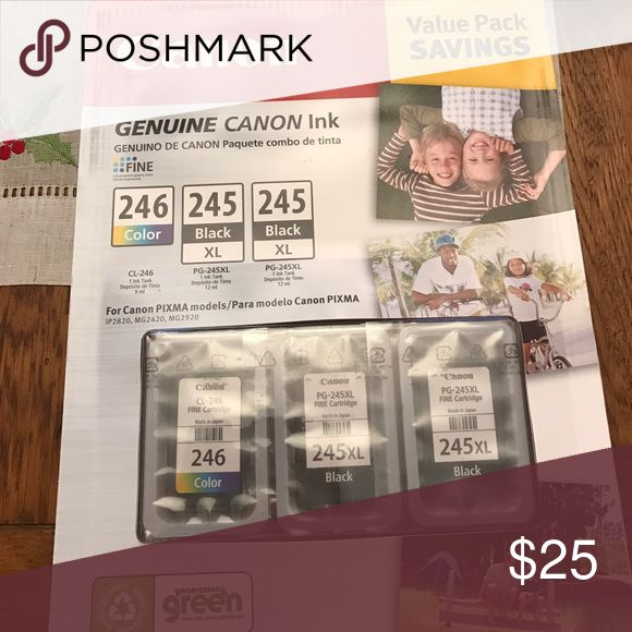 Canon nwot  not opened canon ink 245 and 246 245 and 246 canon Ink for printer nwot!! Never been opened!! Bought new printer so we do not need anymore canon Other