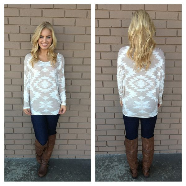 Mocha Aztec Long Sleeve Top, great site for clothes as well