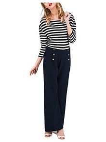 I have a craving for wide leg high waisted trousers - mostly because of Ghostbusters.  Sailor Button Trouser