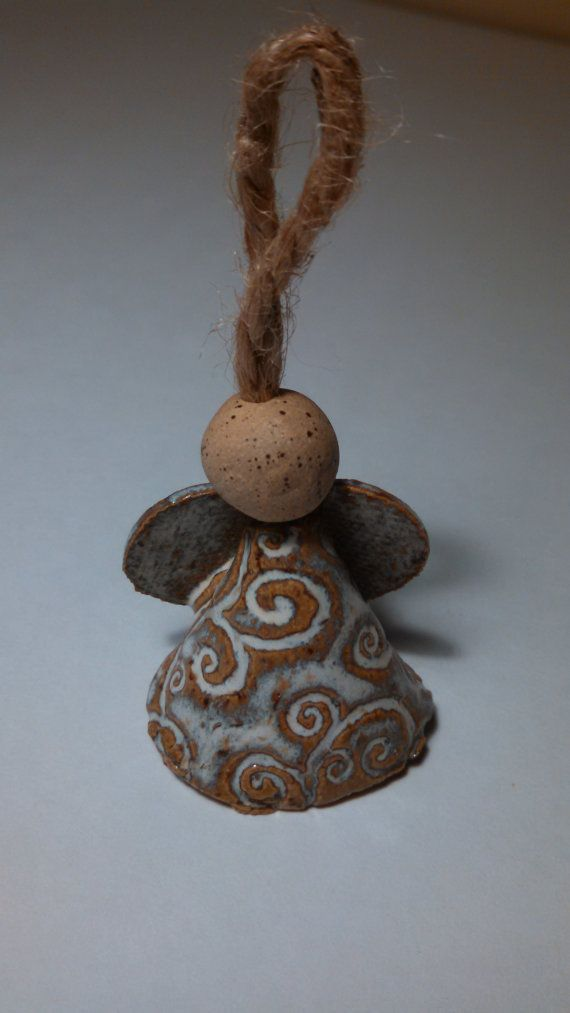 Angel bell pottery ornament with jute or gold string on etsy pottery gift ideas - String ornaments christmas ...
