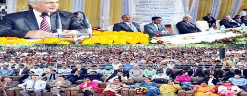 CJI Justice T S Thakur addressing a public gathering at Ukhral in Ramban district on Sunday.