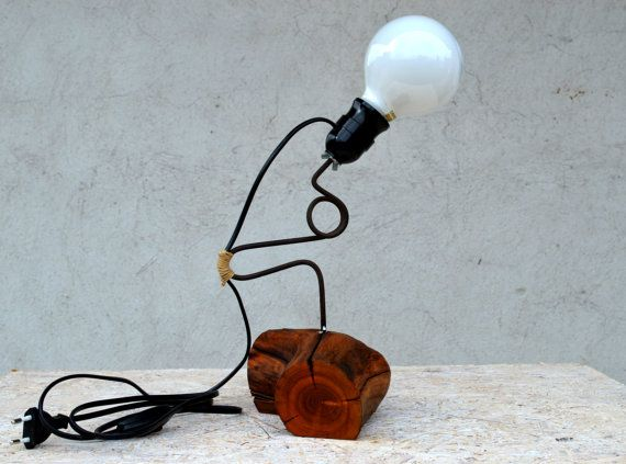 Wooden lamp Stylized steel rod lamp Almond wood lamp Home decor Night lamp Desk lamp