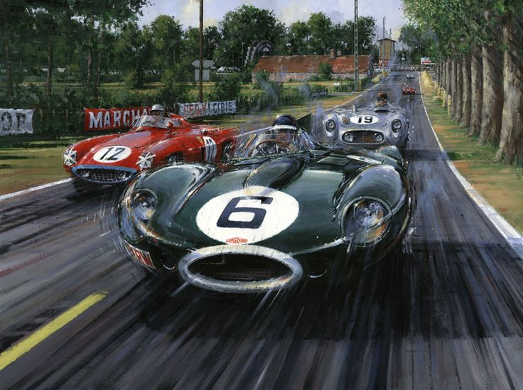 Nicholas Watts: Mike Hawthorn driving the victorious Jaguar D-Type in the 1955 Le Mans 24hrs.