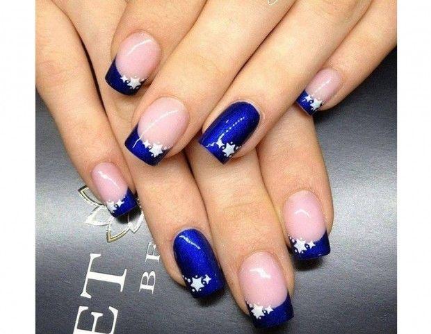 Risultati immagini per unghie french blu elettrico