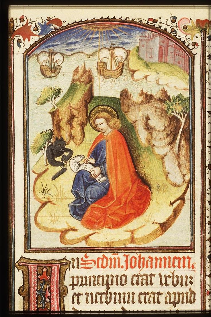 Saint John writing the gospel and #devil. KB 76 G 11, fol. 13r