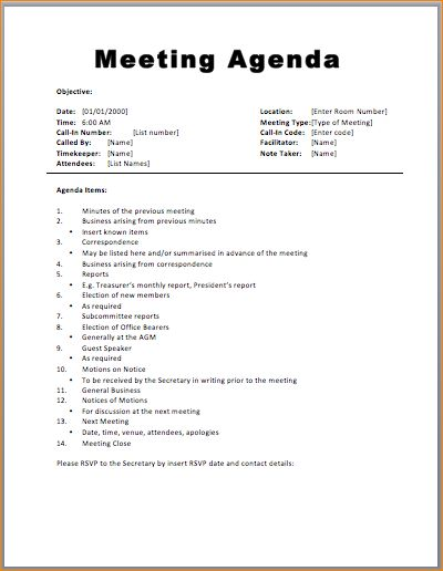 Great Basic Meeting Agenda Template » Printable Meeting Agenda Templates And Formal Meeting Agenda Template