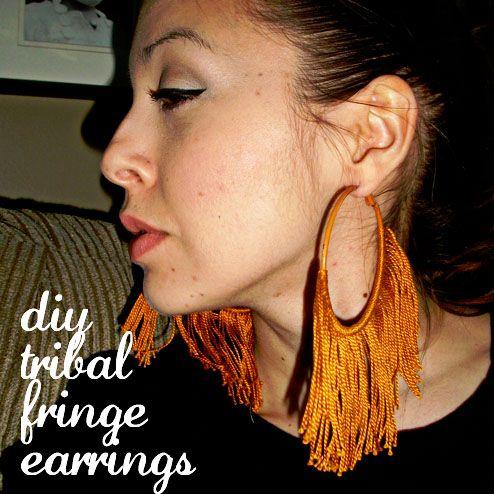 DIY Tribal Fringe Earrings from http://dollarstorecrafts.com/2011/10/make-easy-fringed-hoop-earrings/ .