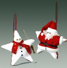 Santa and Snowman Ornament látkové hvězdy