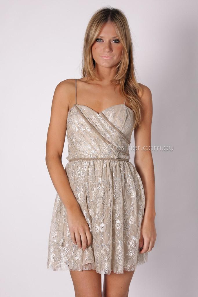 kuku lace me up dress - beige/silver