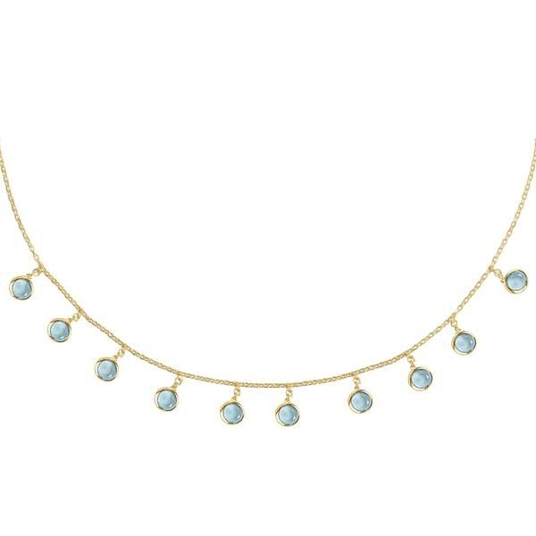 Florence Round Gemstone Necklace Gold Blue Topaz