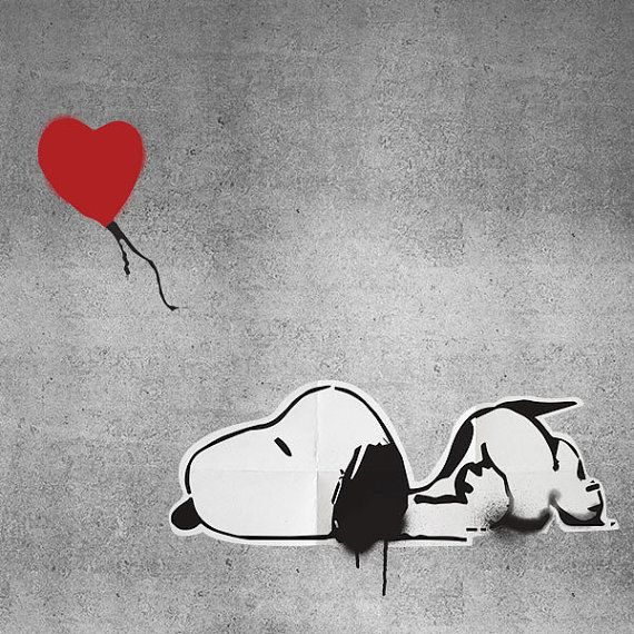 Love is all I got Snoopy Graffiti Wall Print $10.00 banksy style for the rumpus room