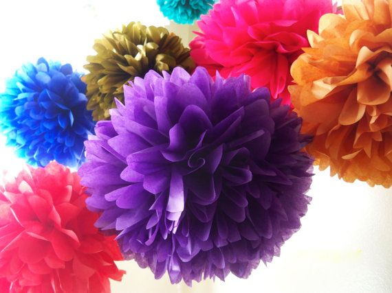 Bollywood / 7 Tissue Paper Pom Poms / Bollywood by LePetitPom