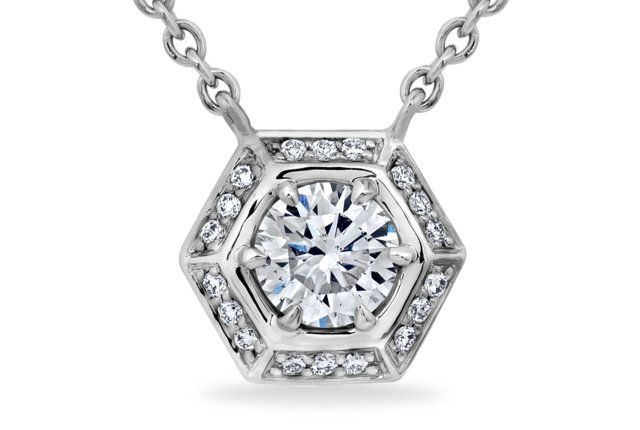 Hexagon Shaped  Diamond Halo Pendant - in White Gold (0.60 CTW)