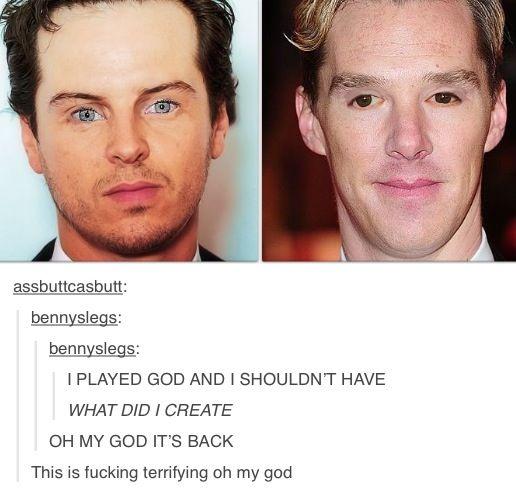 Andrew Scott & Benedict Cumberbatch eye swap. Terrifying.