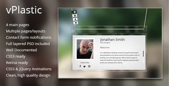 vPlastic - HTML vCard   http://themeforest.net/item/vplastic-html-vcard/5044649?ref=damiamio         	   	 vPlastic – a modern, clean and different vcard, designed around the idea of a plastic name tag. It contains all the necessary information for a vCard, including the about page, detailed with information, some social icons, a avatar picture sample and scroll-able content. You can scroll all the content you need all across the product pages. It also has a resume page, a portfolio page and…