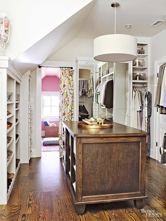 At 120 square feet, this master closet is large enough to accommodate a sizable…