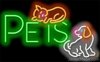 PETS Genuine Neon Sign JANTEC USA 32W x 20H Fast Free Ship Dog Cat Shop Groom