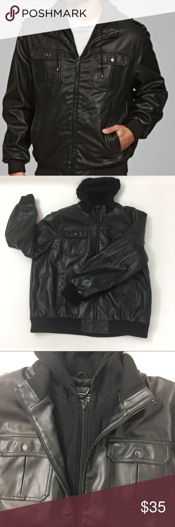 Buffalo by David Bitton Mens Faux Leather Jacket Like New, this Buffalo mens hooded bomber jacket is a stylish addition to any wardrobe. This bomber jacket features a zipper bib detail and an epaulet detail at the shoulder. Color: Black Two lined slash pockets, two chest button flap pockets Stand collar Front zipper entry Fully lined Buffalo David Bitton Jackets  Coats Bomber  Varsity