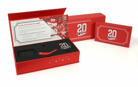We were delighted to produce the 20th anniversary commemorative season ticket packaging for the American Ice Hockey team, the Carolina Hurricanes.