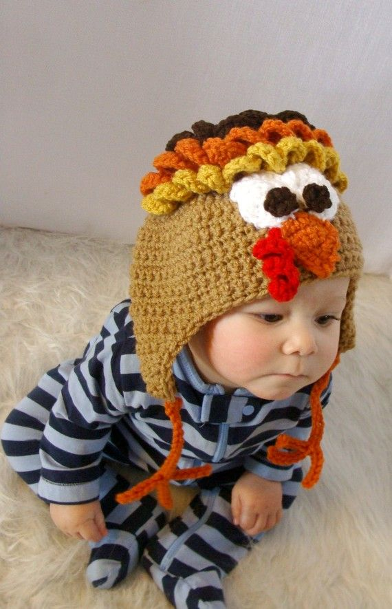 Turkey Hat Crochet Pattern PDF 536 by SandysCapeCodOrig on Etsy, $4.95