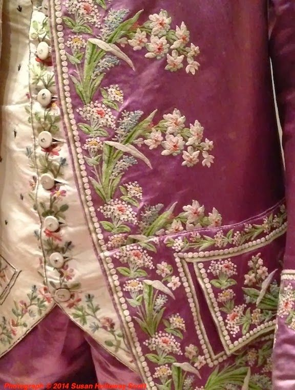 """1770-1780 French suit (detail) at the Museum of Fine Arts, Boston - """"This was male power dressing: the richer the silk fabrics and the more elaborate the silk embroidery, the more costly the clothing was, a walking demonstration of the owner's wealth and power as well as his taste. The light, bright colors would also have shown well in a room lit only by candles, and drawn attention to the wearer."""" Found via Two Nerdy History Girls."""