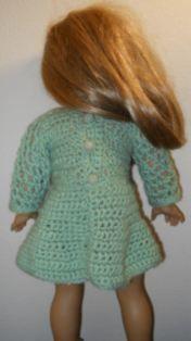 American Girl Crochet Spring Dress. Free pattern for Mint Green Crochet dress for beginners.