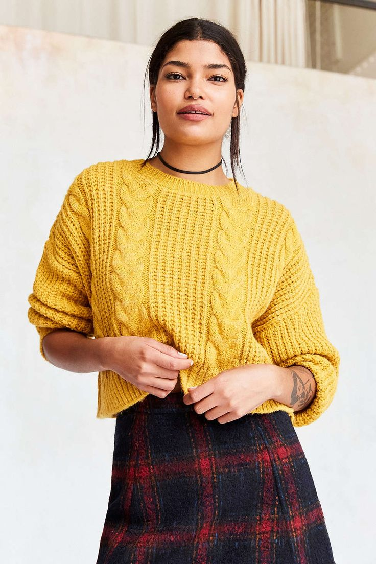 BDG Cable Cropped Pullover Sweater - Urban Outfitters
