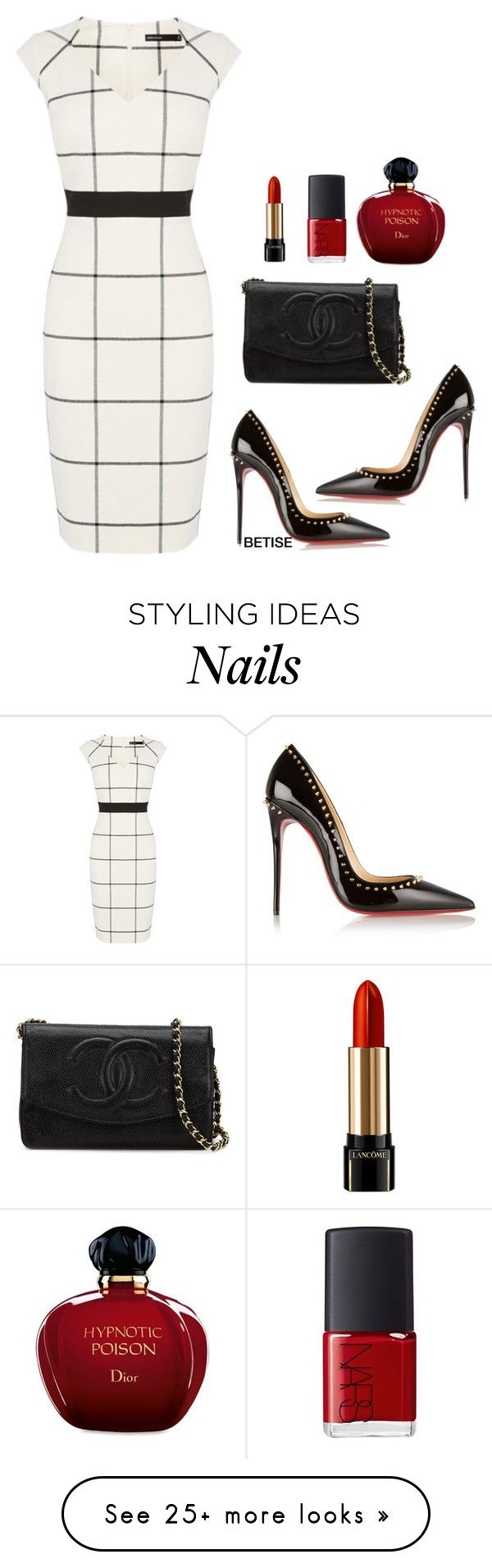 """""""WHITE & BLACK !!!"""" by betty-sanga on Polyvore featuring Karen Millen, Christian Louboutin, Chanel, Lancôme, NARS Cosmetics and Christian Dior"""