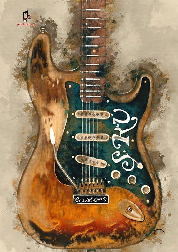 Stevie Ray S Guitar Wall Art 11 6x16 5 Hand Painted Guitar Art