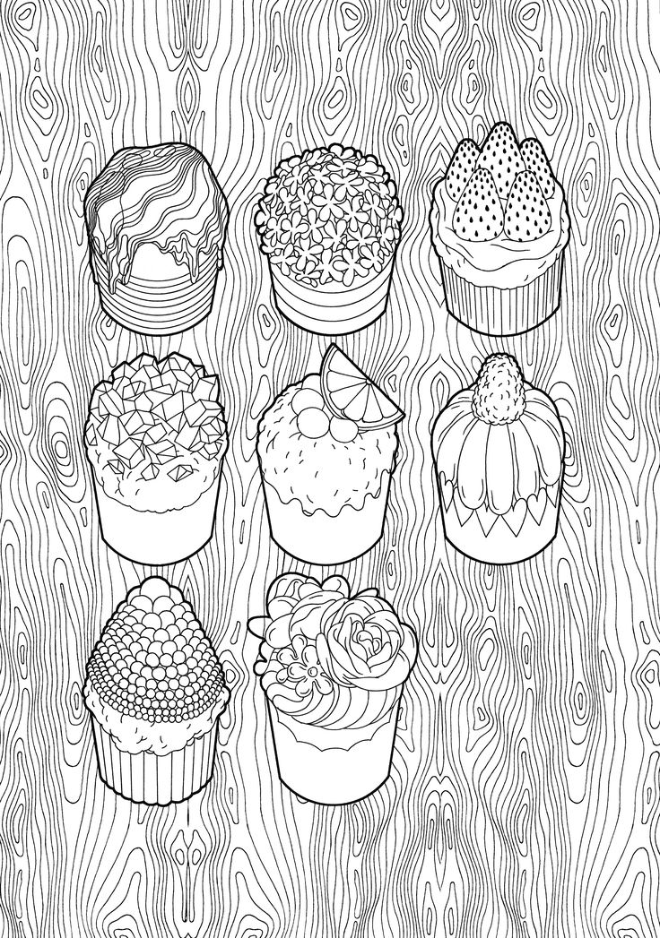 92 best Cupcakes + Cakes Coloring Pages for Adults images on ...